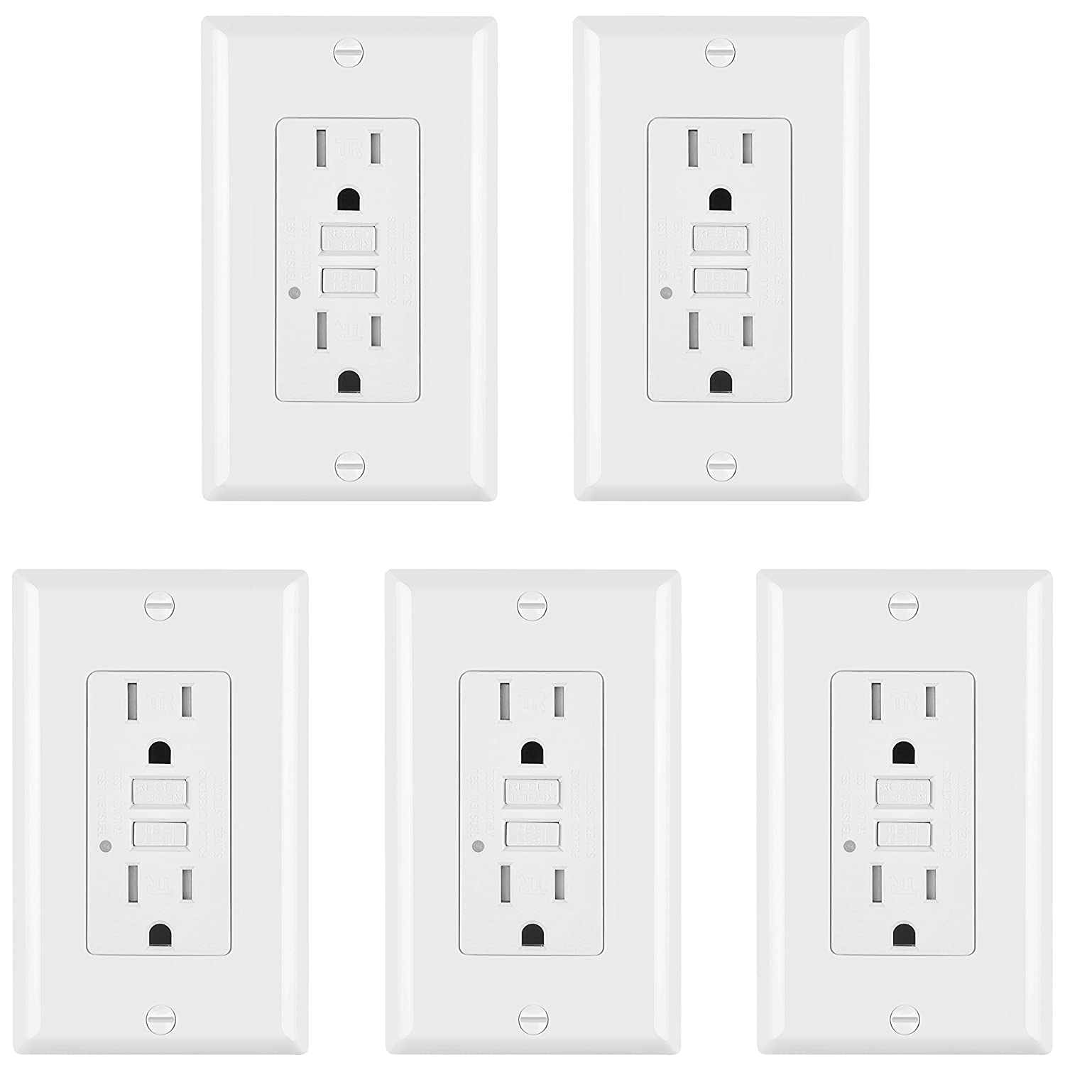 [2 Pack] ELECTEK 15A/125V Tamper Resistant GFCI Receptacle Outlet with LED Indicator, Decor Wall Plate and Screw Included, ETL Certified, White