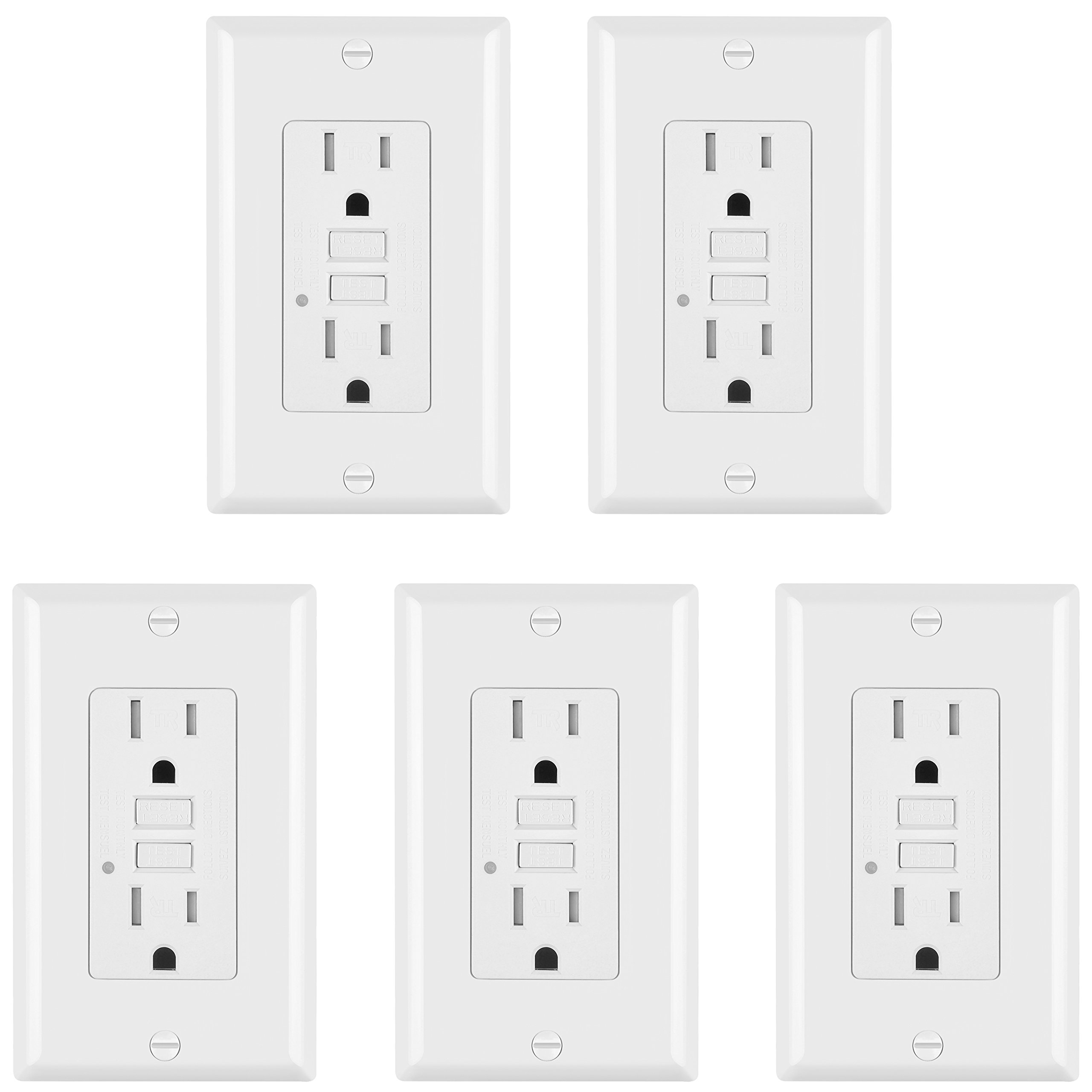 5 Pack - ELECTECK 15A/125V Tamper Resistant GFCI Outlets, Decor Receptacle with LED Indicator, Decorative Wall Plates and Screws Included, Residential and Commercial Grade, ETL Certified, White by ELECTECK (Image #1)