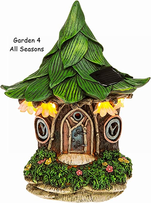 Jardín de hadas solar luz led lluminated adornos en miniatura casa vivienda Pixie FANTASY – Hoja Cottage: Amazon.es: Jardín