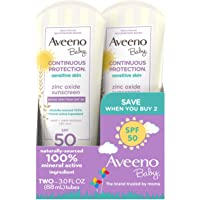 Aveeno Baby Continuous Protection Zinc Oxide Mineral Sunscreen Lotion with Broad Spectrum SPF 50, Sweat and Water…
