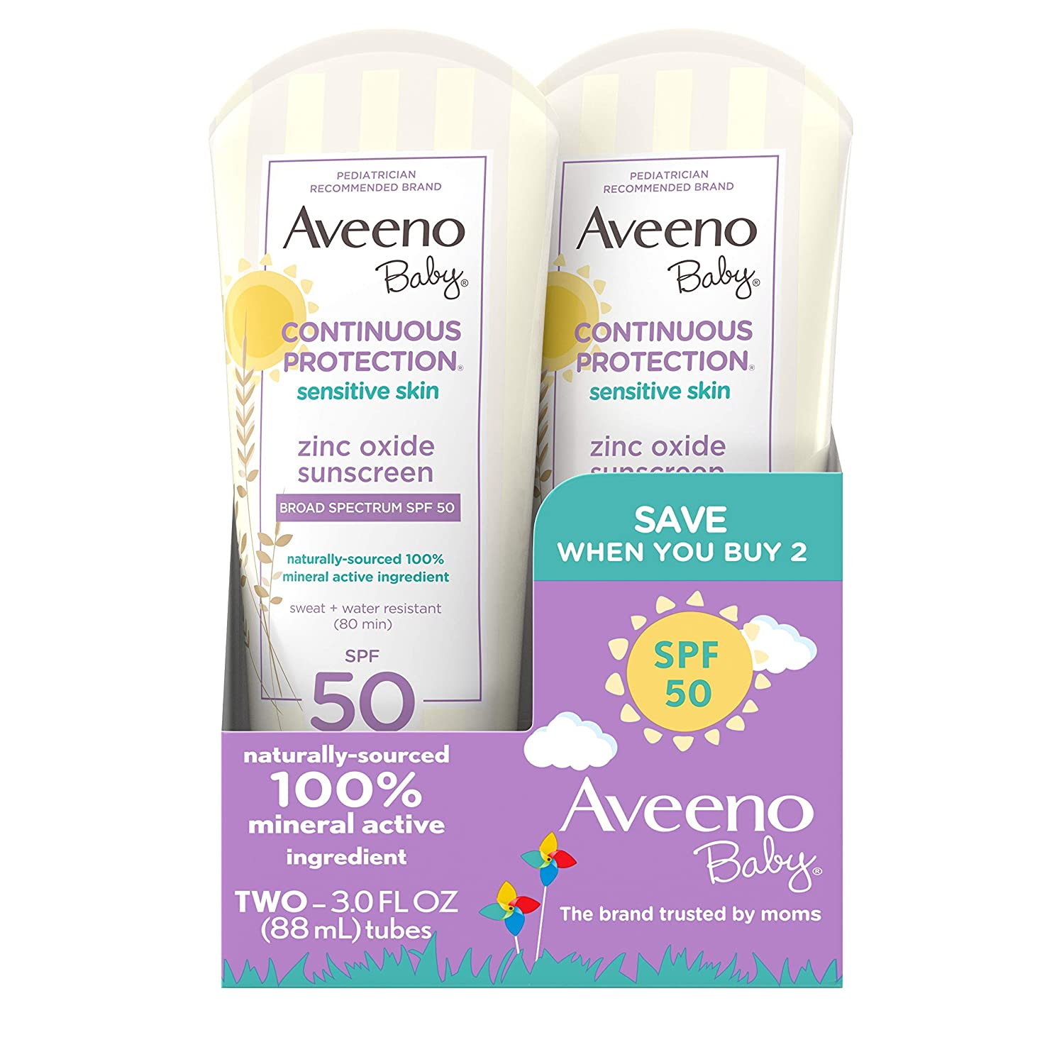 Aveeno Baby Continuous Protection Zinc Oxide Mineral Sunscreen Lotion with Broad Spectrum SPF 50, Sweat and Water Resistant, 3 fl. Oz, Pack of 2