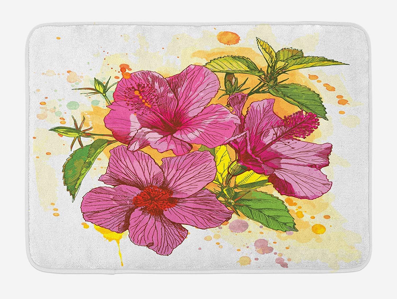 Floral Bath Mat Vibrant Hibiscus Flower Bouquet Exotic Watercolor
