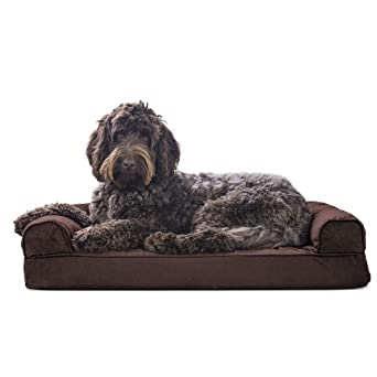 Furhaven Pet Dog Bed | Memory Foam Quilted Traditional Sofa-Style Living Room Couch Pet Bed w/Removable Cover for Dogs & Cats, Coffee, Medium