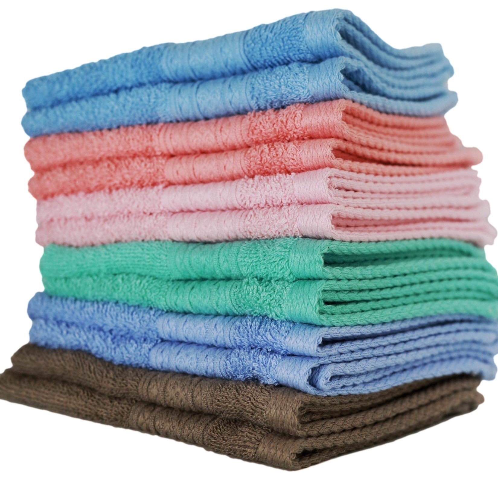 "Luxurious Washcloths – Set of 12 – Size 13"" x 13"" – Thick Loop Pile Washcloth – Absorbent and Soft 100% Ring-Spun Cotton Wash Cloth – Lint Free Face Towel – Wash Cloths Perfect for Bathroom"