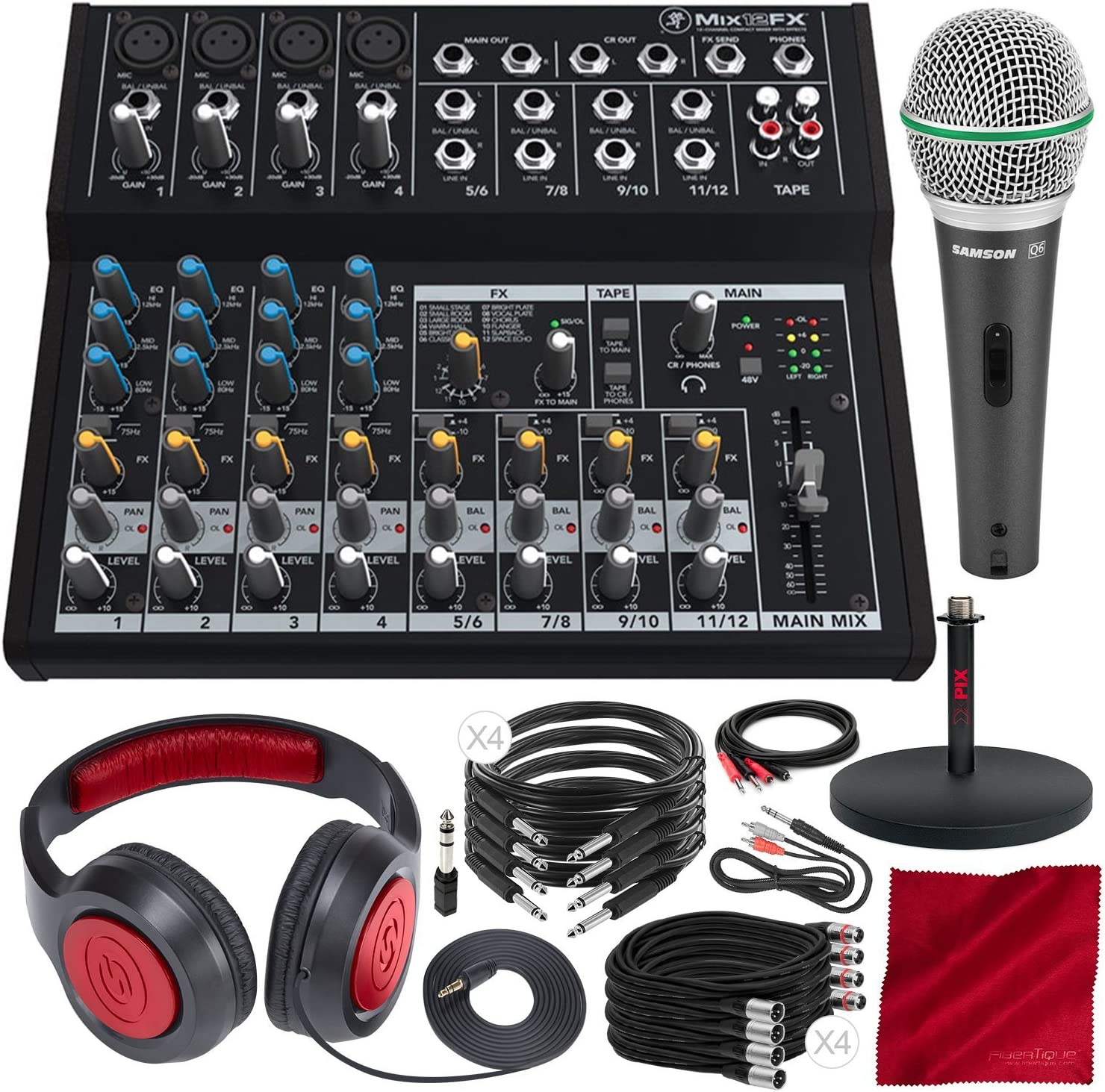 Mackie Mix Series Mix12FX 12-Channel Compact Mixer and Premium Bundle with Dynamic Microphone + Xpix Desktop Studio Mic Stand + Headphones + More