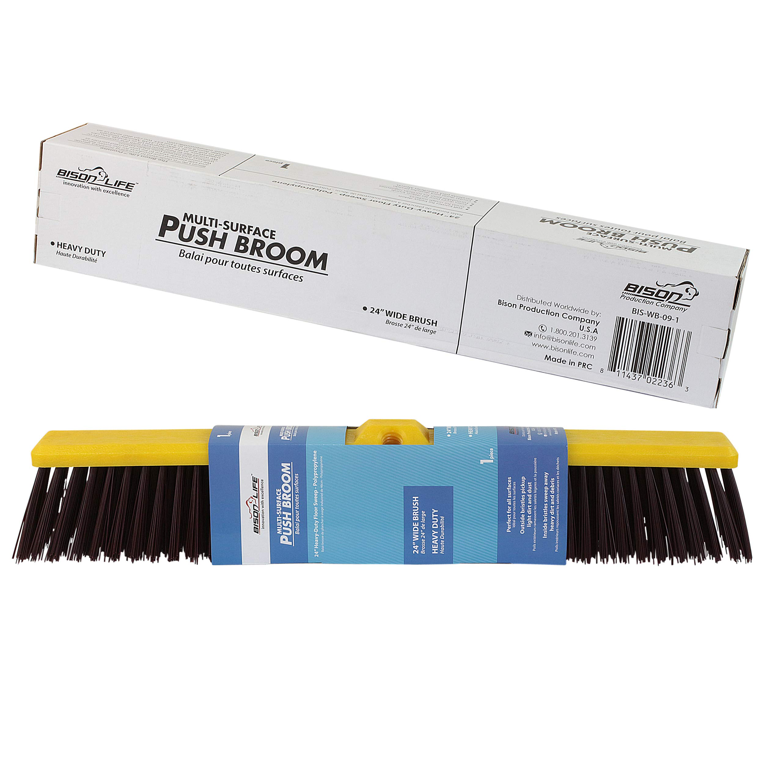 Multi Surface Push Broom | Coarse Polypropylene and Polystyrene Heavy-Duty Floor Sweep Broom (Pack of 12) by BISON LIFE (Image #3)
