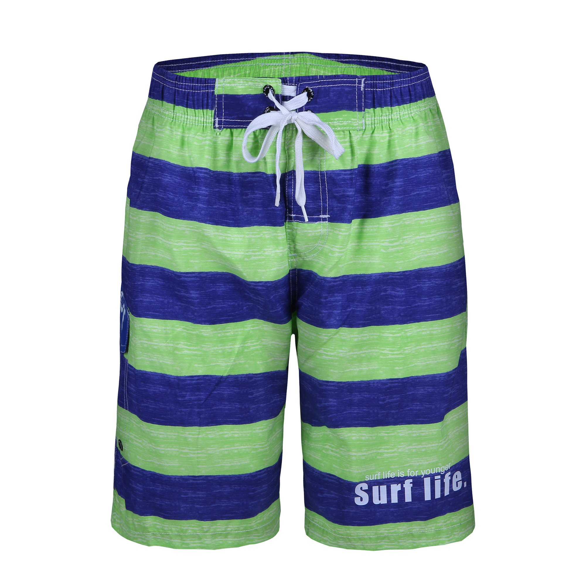 Men\'s Swim Trunks Quick Dry Stripe Board Shorts Swimwear Beach Shorts with Pockets,Green,US L- Asia XXL