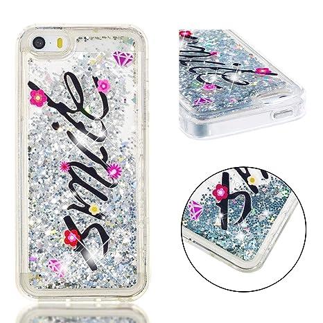 Amazon.com: Carcasa para iPhone 5/5S iPhone SE con purpurina ...