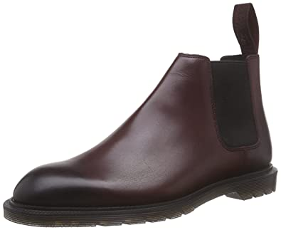 Dr. Martens Men's Wilde Temperley Cherry RED Unlined Chelsea Boots Half  Length Red Size: