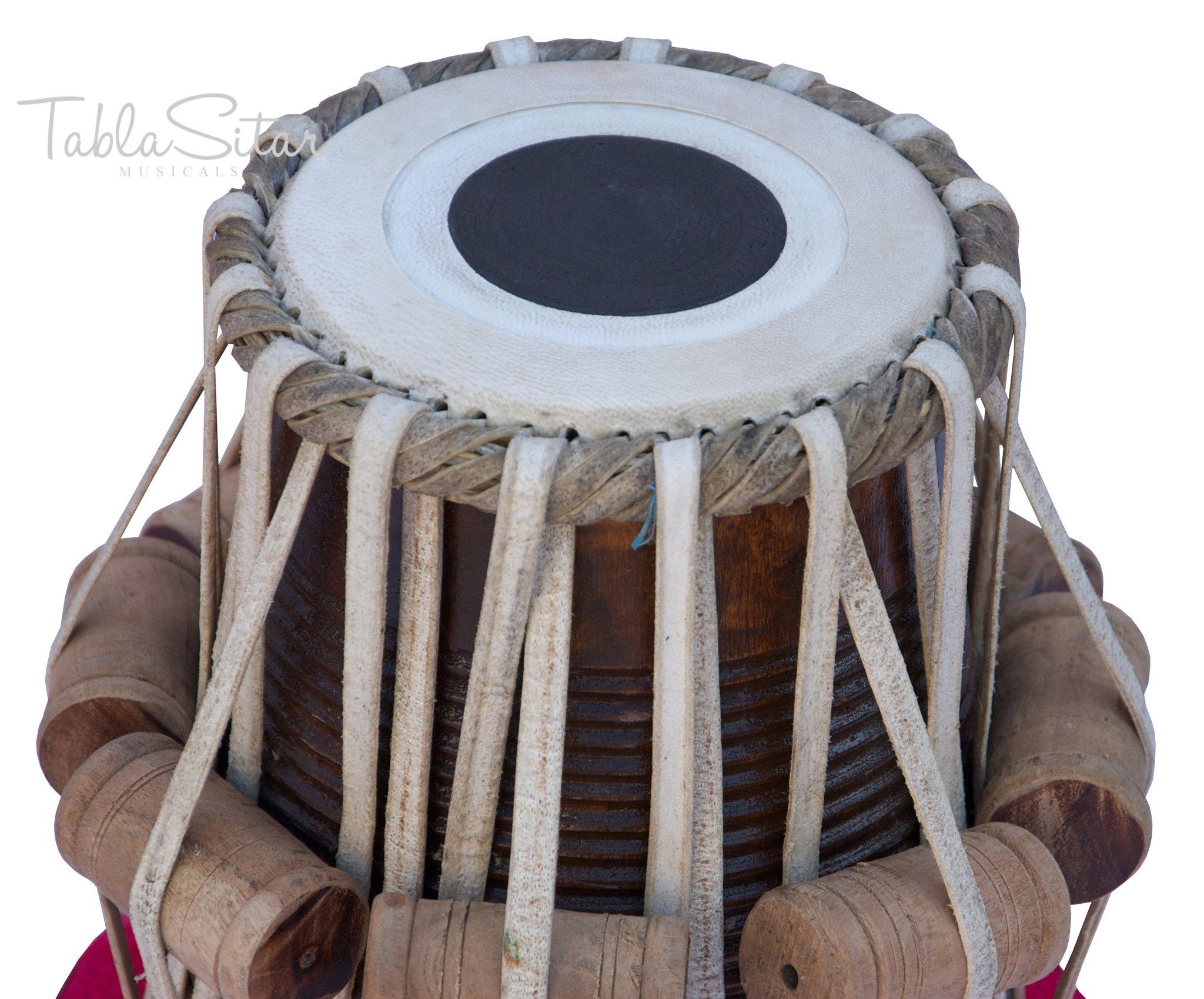Tabla Drum Set by Maharaja Musicals, Professional, 3.5 Kg Copper Bayan - Designer Carving, Sheesham Tabla Dayan, Padded Bag, Book, Hammer, Cushions, Cover, Tabla Musical Instrument (PDI-CJH) by Maharaja Musicals (Image #6)