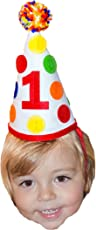 1st First Birthday Baby Boy Colorful Pom Pom Party Hat Girl Cake Smash Party Decorations