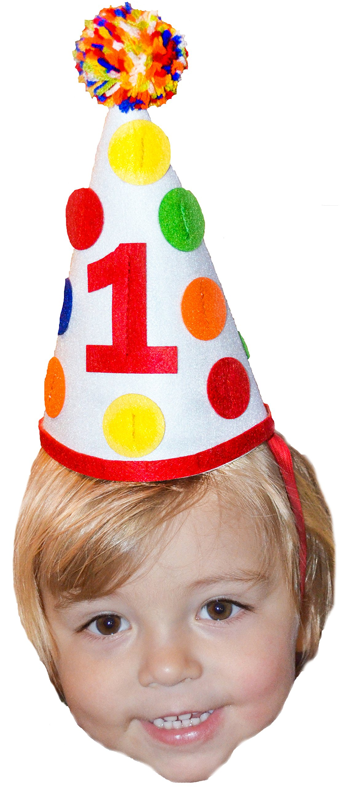 1st First Birthday Baby Boy Colorful Pom Pom Party Hat Girl Cake Smash Party Decorations by Birdy Boutique (Image #1)