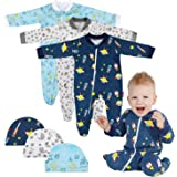 Lictin Baby Boys' One-Piece Footies Blanket Sleepers & Baby Caps 3 Pairs for Infants 3-6 Months- Baby Footed Pajamas of…