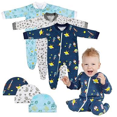 Lictin 6 Piezas Pijama para Bebé- Mameluco de Algodón con Cremallera con Puntos de Pegamento Antideslizantes para Pies,Pintura de Estrella