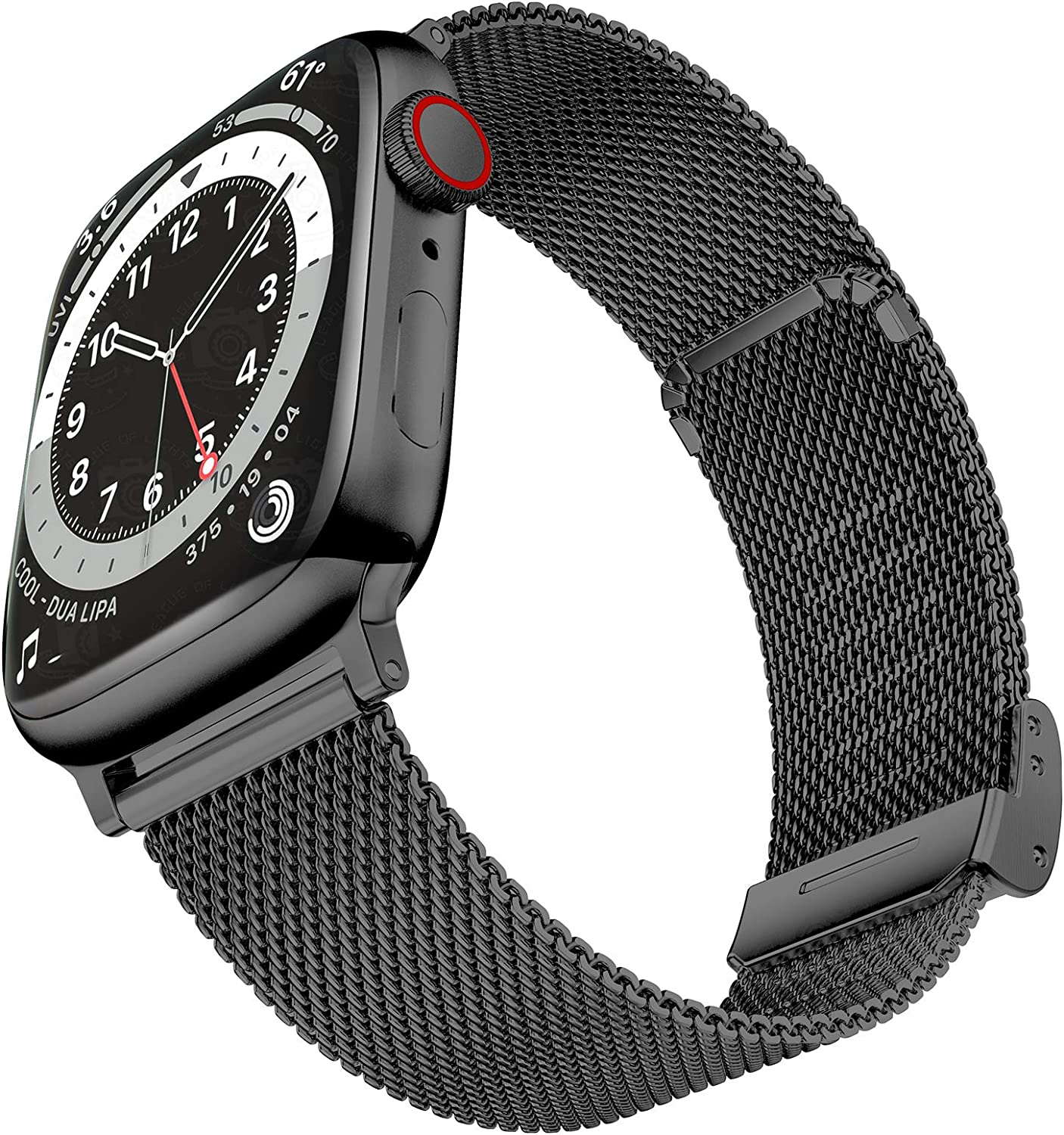 Geoumy Bands Compatible with Apple Watch Band 42mm 44mm, Stainless Steel Milanese Mesh Loop Replacement Men Women Strap for iWatch Series SE/6/5/4/3/2/1,Black