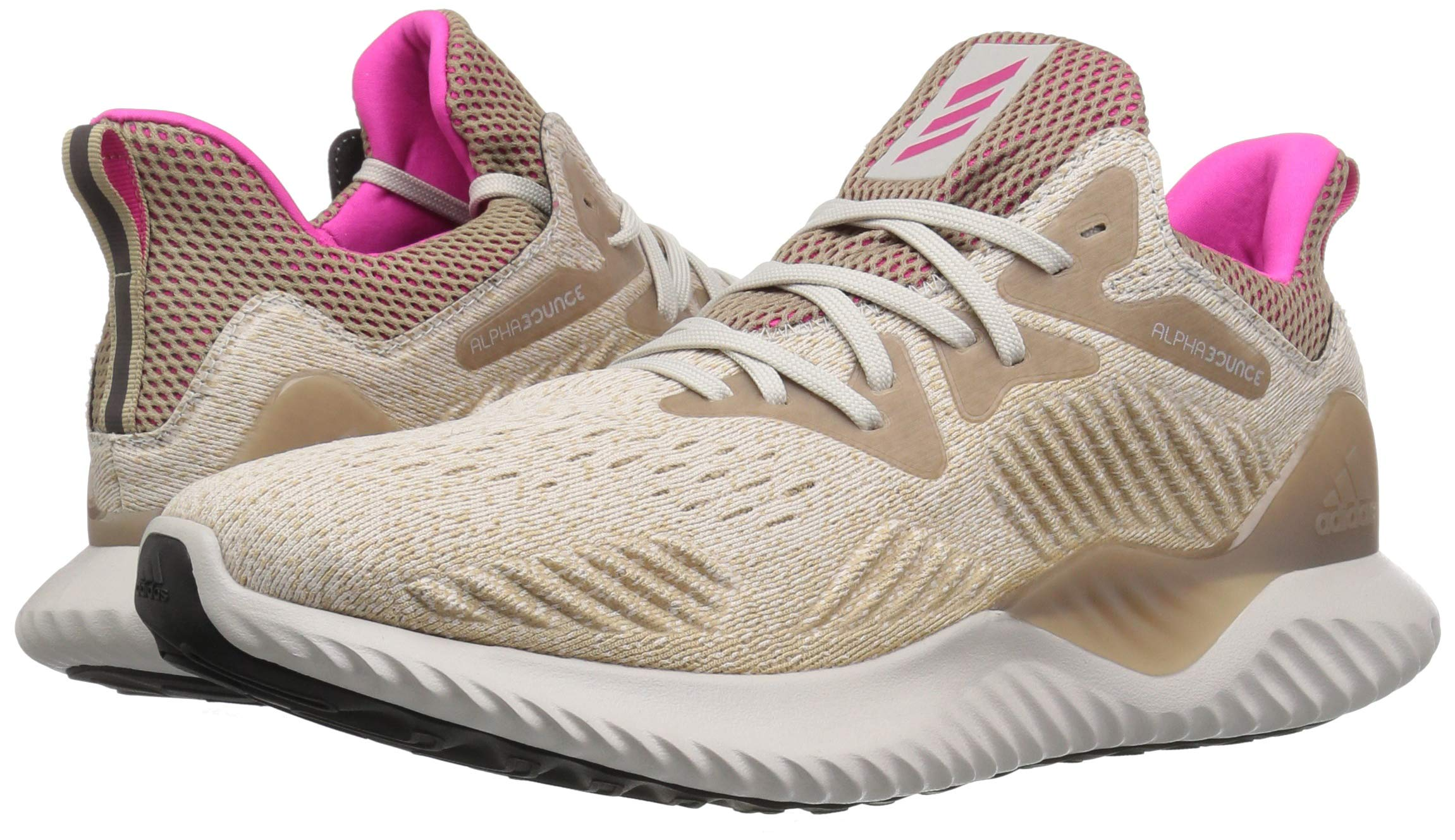 adidas Men's Alphabounce Beyond Running Shoe, Chalk Pearl/Shock Pink/Trace Khaki, 7.5 M US by adidas (Image #6)