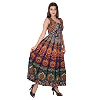 Jaipuri Fashionista Cotton Women's Maxi Long Dress Jaipuri Printed with Atteched Jacket (Free Size Upto 44-XXL)