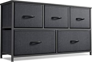 Cubiker Dresser Storage Organizer, 5 Drawer Dresser Tower Unit for Bedroom Hallway Entryway Closets, Small Dresser Clothes Storage with Wide Sturdy Steel Frame Wood Top, Black Grey