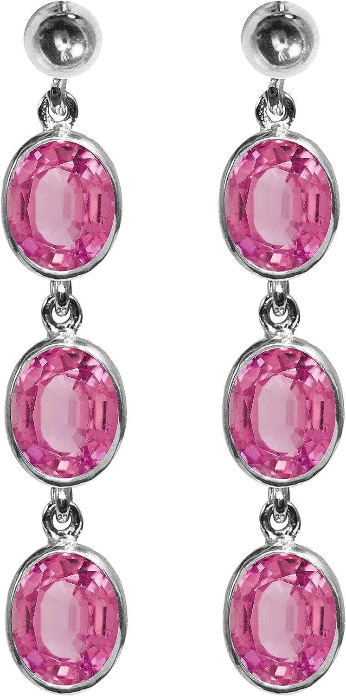 BJC® 9ct oro blanco Natural topacio rosa 9.00ct ovalado Triple Drop pendientes colgantes marca nuevo con caja de regalo