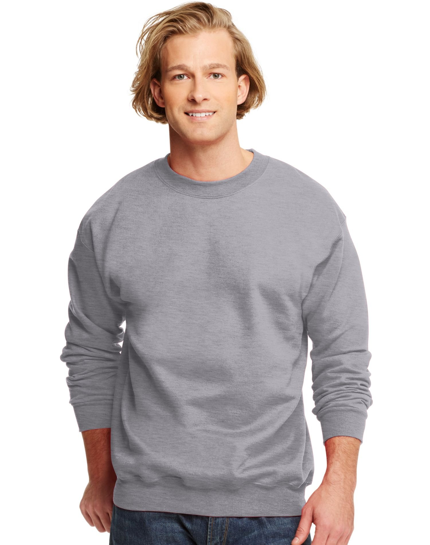 Hanes Men's Ultimate Cotton Fleece Crew Sweater, Oxford Gray, L US by Hanes