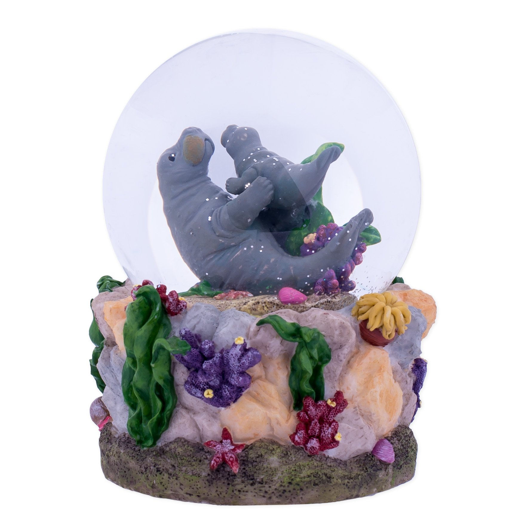 Manatees Playing in Ocean 100MM Music Water Globe Plays Tune Somewhere In Time