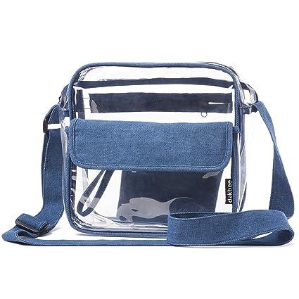 852929a62db3 Clear Stadium Bag with Denim Trim | NFL NCAA PGA NASCAR Approved 10 x 10 x  5 Crossbody Messenger with Adjustable Shoulder Strap | Dakbee Original with  ...