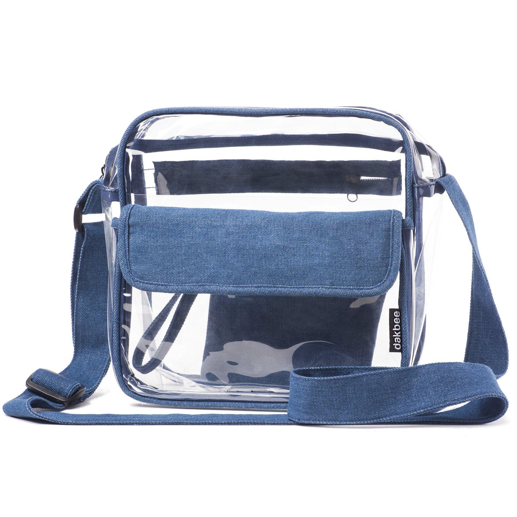 Clear Stadium Bag with Denim Trim | NFL NCAA PGA NASCAR Approved 10 x 10 x 5 Crossbody Messenger with Adjustable Shoulder Strap | 2018 Dakbee Original with Zippered Pockets| Bonus Denim Privacy Clutch