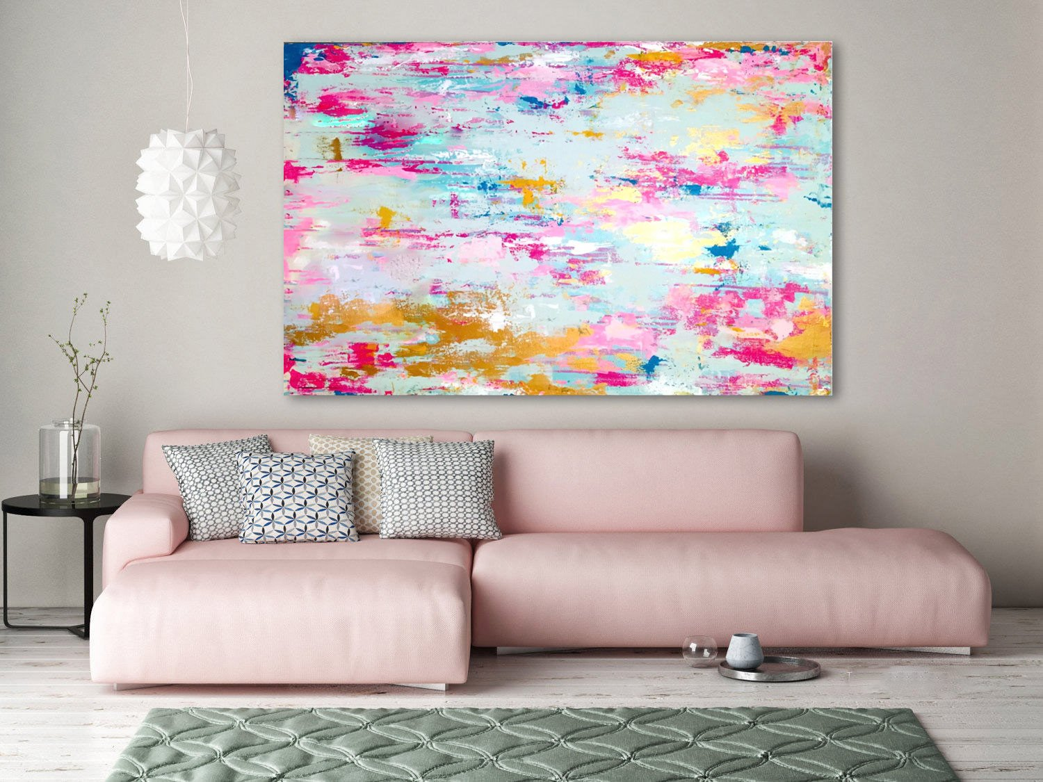 Hand made Modern Abstract Pink Painting, Pink Gold, Gold Leaf Abstract Art Gold Leaf Canvas Abstract Gold Art, Original Canvas Art, Blue Abstract Art by Fchen Art