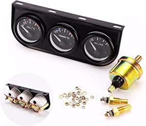 iztor 52mm Triple kit Oil Temp Gauge Water Temp Gauge Temperature Oil Pressure Gauge Sensor 3in1 Car Meter Auto Gauge