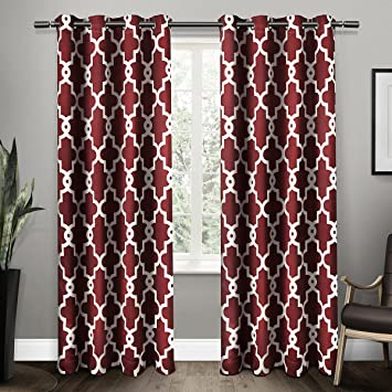 exclusive home curtains ironwork sateen woven blackout thermal grommet top window curtain panel pair burgundy