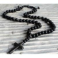Collar Cruz Hematita negro Ónice Cuentas 10mm piedras semipreciosas Y-Collar rosario hombre mujer damas/ALLA