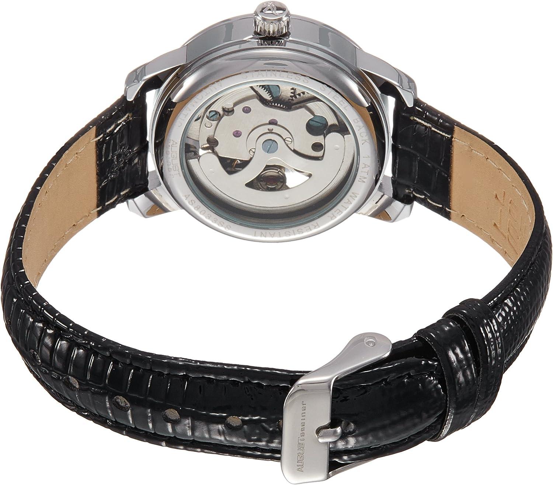 August Steiner Femme AS8033SS Skeleton Automatic Cadran Argent Noir Bracelet Cuir