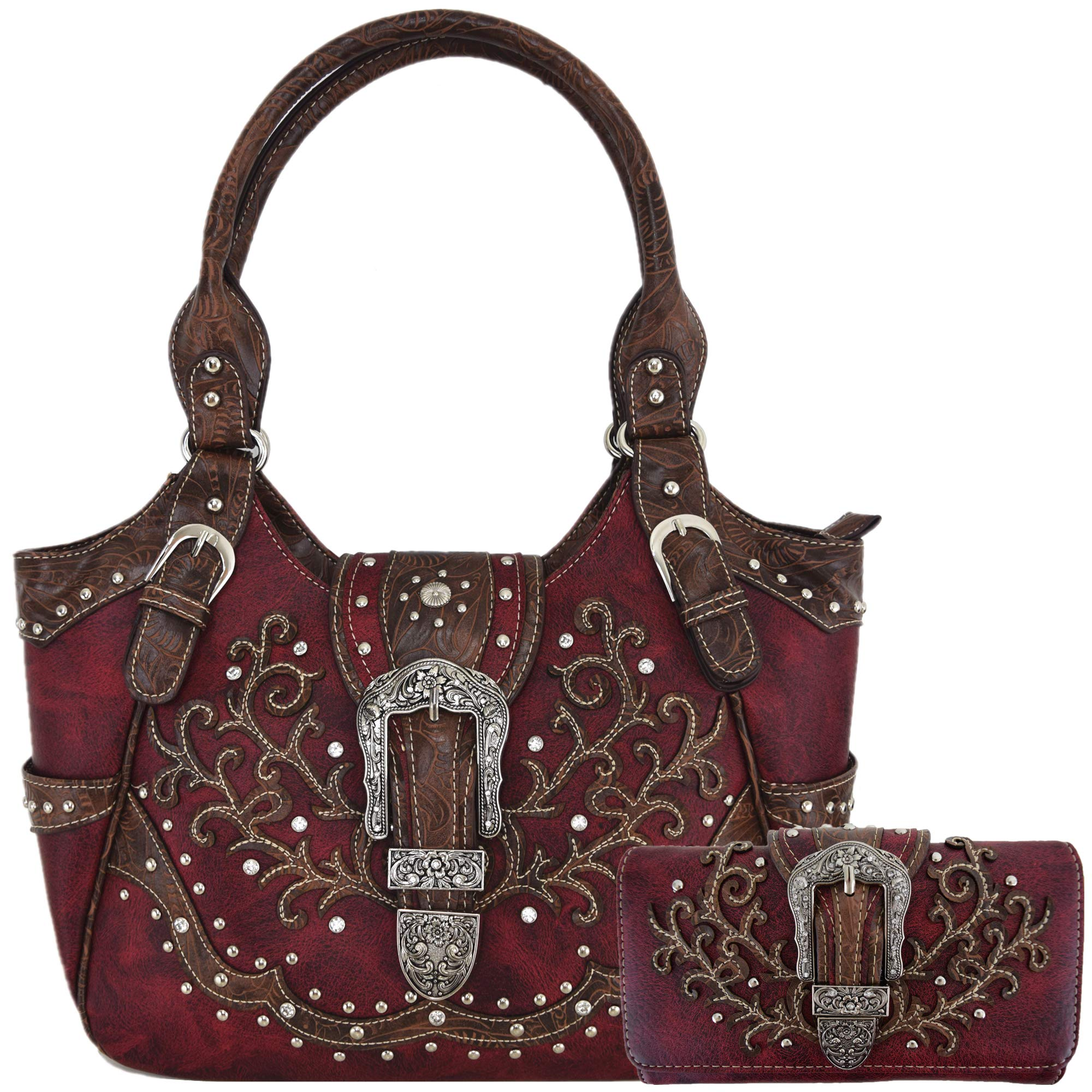 Western Style Tooled Leather Buckle Concealed Carry Purse Country Handbag Women Shoulder Bag Wallet Set (Red Set)