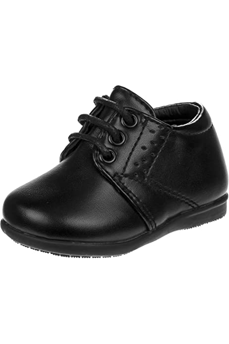 JOSMO Baby Boys First Steps Walking Dress Shoe 4 Toddler, Black Smooth Perf Infant, Toddler