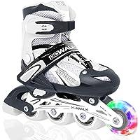 حذاء تزلج مريح قابل للتعديل مع عجلة امامية باضاءة LED من جو ووك يمكن ان يتحول من حذاء ثلاثي العجلات الى حذاء تزلج بصف…