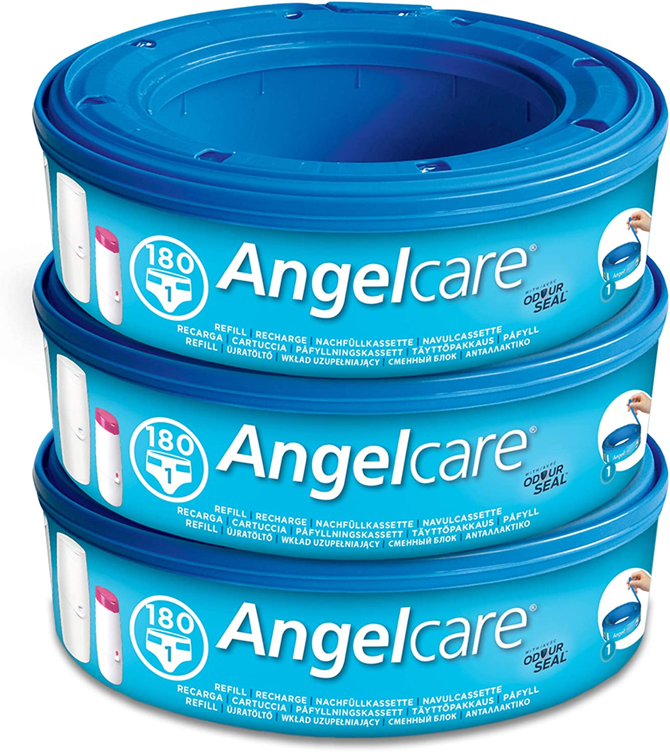 Angelcare Nappy Disposal System Single with 12 Refill Cassettes Pack