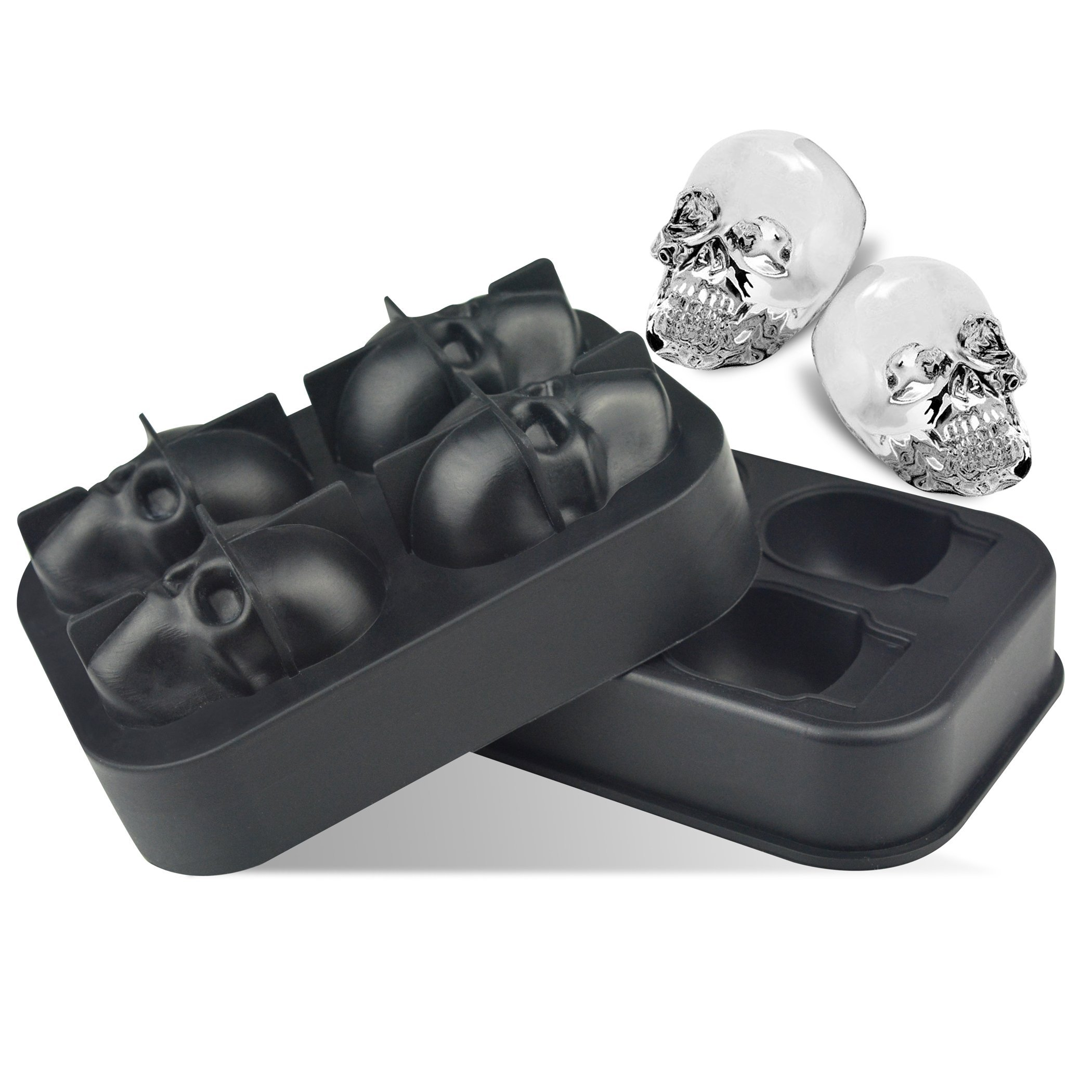 3D Skull Ice Cube Trays for Whisky, Cocktail, Wine, Kitchen, Bar, Party and Halloween by LINPOZONE (Image #2)