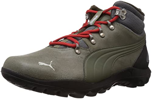 Puma Men s Silicis Mid Forest Night and Burnt Olive Leather Sneakers - 11  UK India 5d417593c