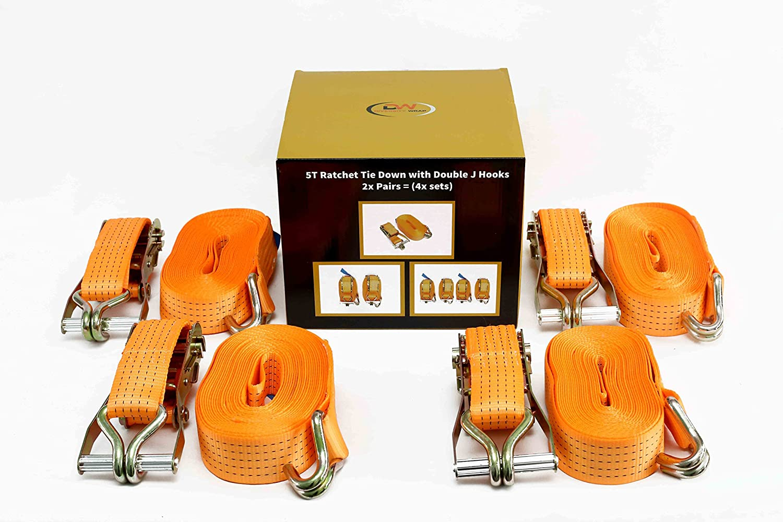 4 x Spanngurte von DiversityWrap 9 m x 50 mm 5000 kg 5 Tonnen Gurtband Eisengriff und Doppel-J-Haken