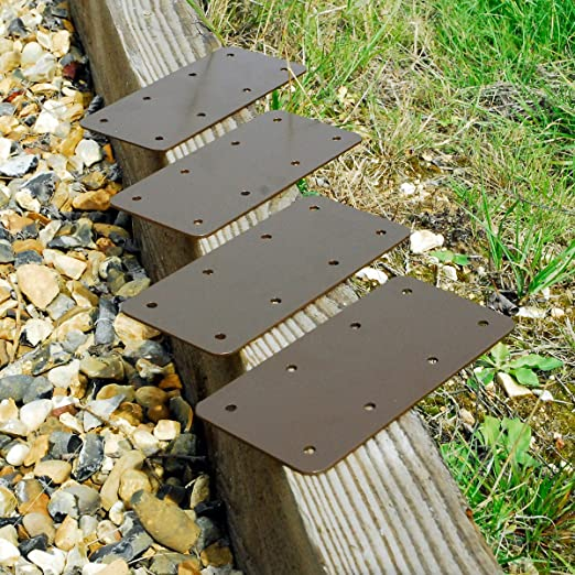 4 soportes de madera rectos para macetas de madera con bordes elevados, color marrón: Amazon.es: Bricolaje y herramientas