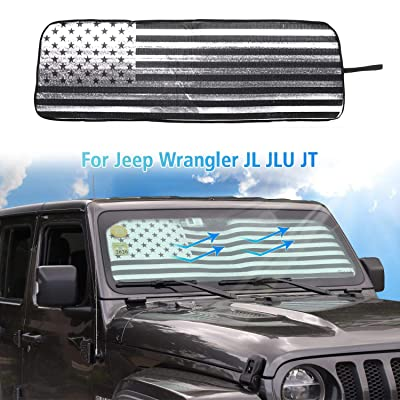 American Flag Windshield Sunshade, Auto Front Window Shade Foldable Sun Visor for 2020-2020 Jeep Wrangler JL JLU, for 2020 Jeep Gladiator JT Truck: Automotive
