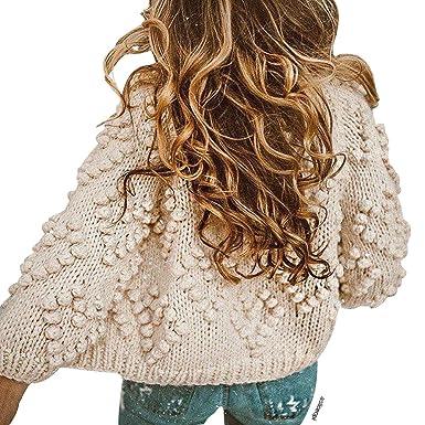 Chicwish Women s Soft Heart Shape Balls Hand Knit Open Front Ivory Cardigan 2f5a13e45