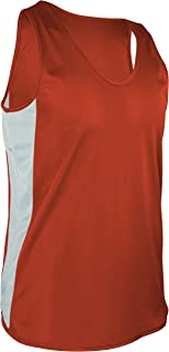 product image for TR-980-CB Men's Performance Athletic Light Single Ply Track Singlet with Side Panels (Large, Orange/White)