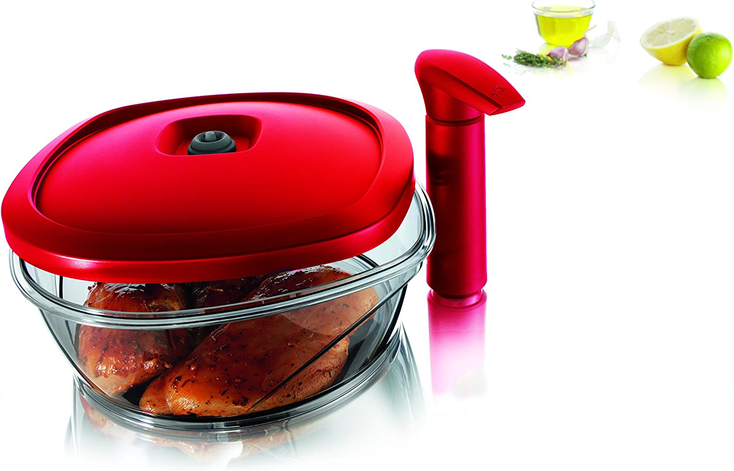 Tomorrow's Kitchen Instant Marinator, 2.50 Liter Capacity - Red