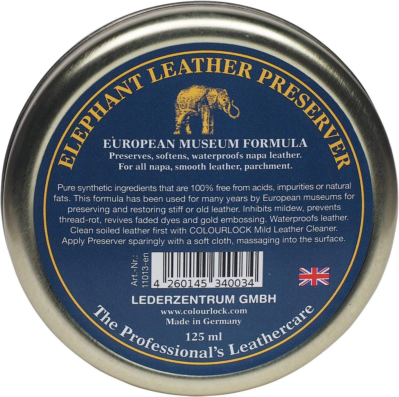 Colourlock Elephant Leather Preserve Wax To Restore Care Nourish And Waterproof Leather Car Interior Handbags Chesterfield Sofas Etc 125 Ml Automotive
