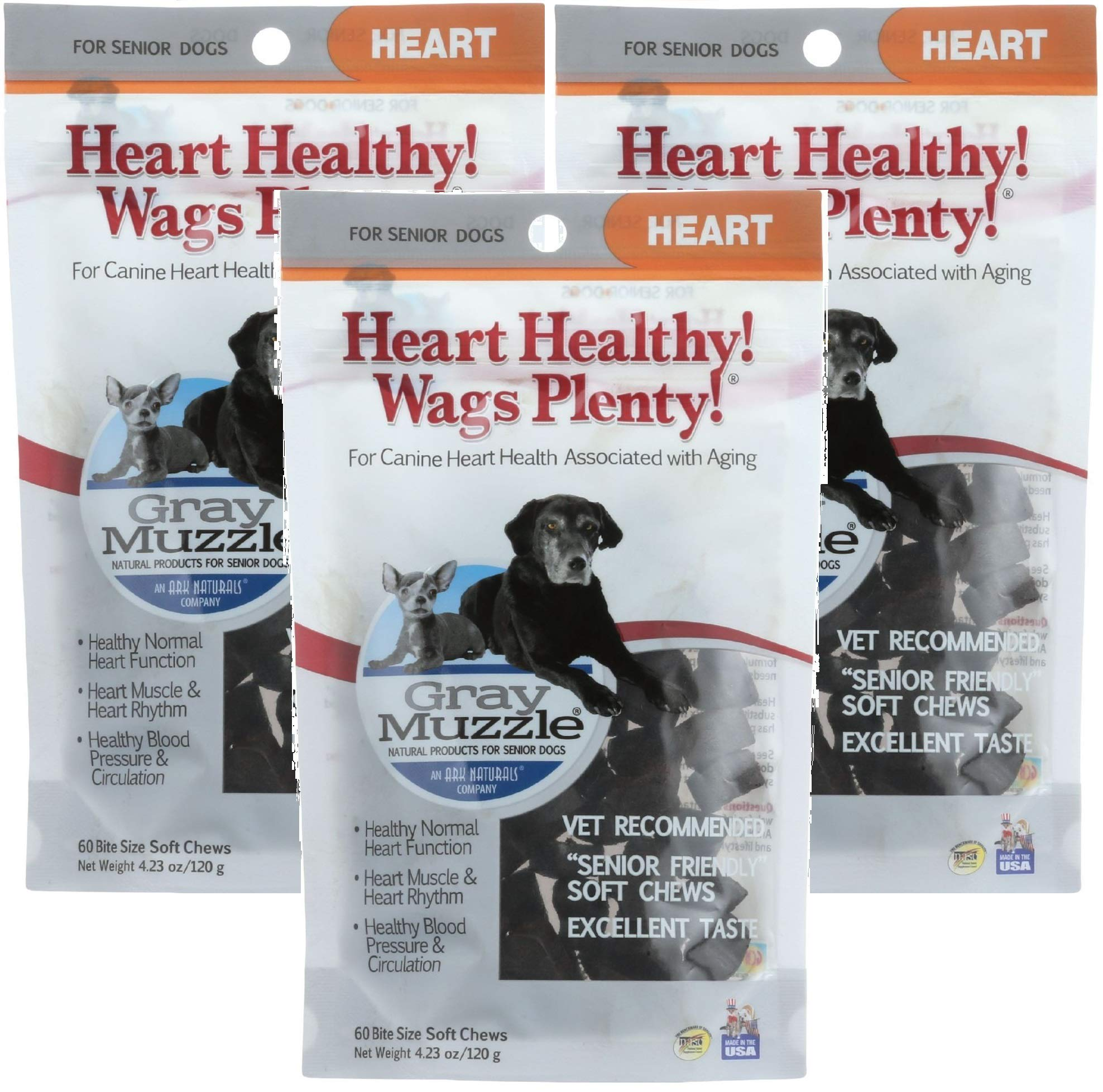 ARK NATURALS (3 Pack) Company Wags Plenty Heart Healthy Grey Muzzle, Senior Dogs, 60 Count Each