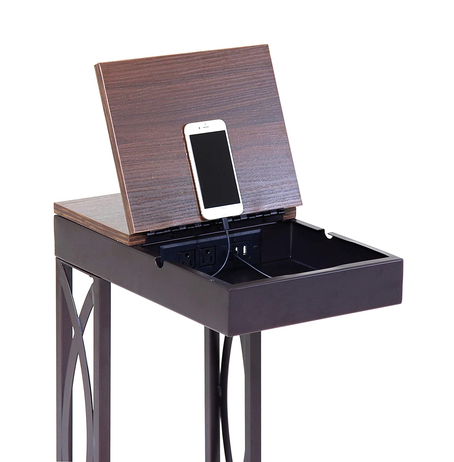 Leisure Space SeeTable – Stash with Device Stand, Charging Station, and Storage Dark Brown Frame Walnut Finish Table Top – C Table End Table Side Table Accent Table