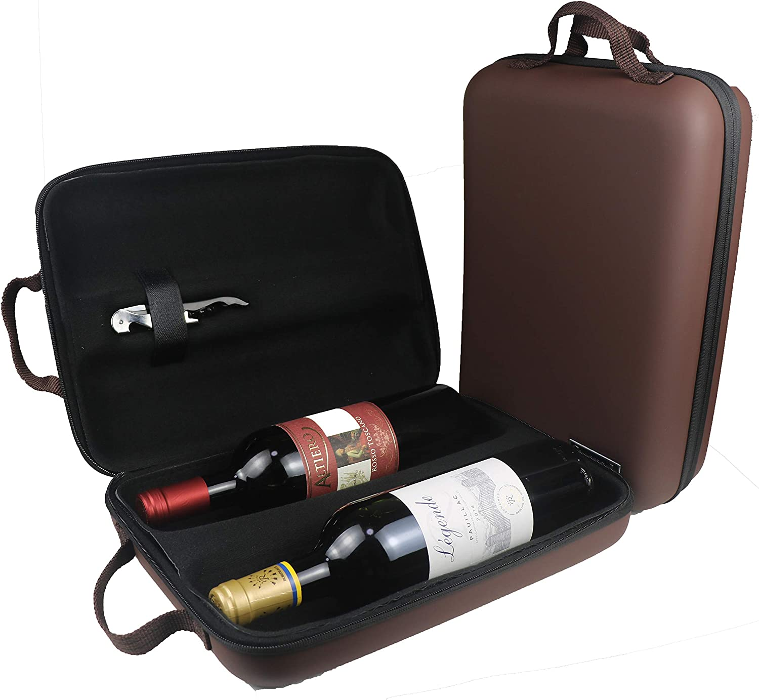 Wine Bottle Travel Bag for 2 Bottles of Wine- Shockproof & Waterproof Protective EVA Hard Carrier Tote Case Carrying Shell Pouch