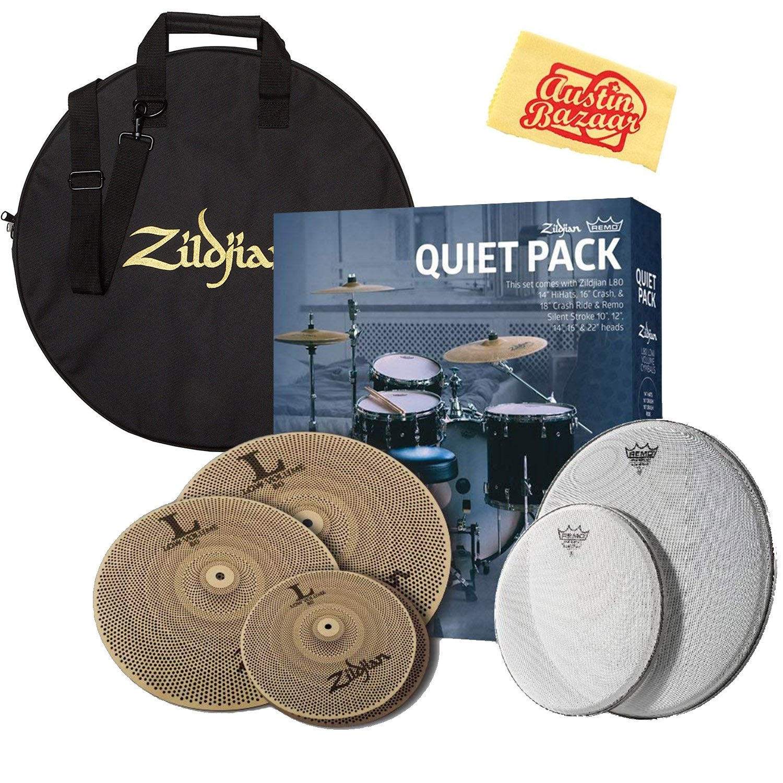 Zildjian LV468RH Quiet Pack Cymbal Set Bundle with Cymbal Bag and Austin Bazaar Polishing Cloth