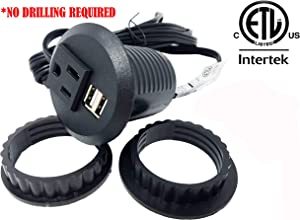 """Desktop Power Grommet Outlet Data Center, 2"""" or 3"""" Hole No Drilling Required, 2 Outlet W/2 USB Ports(FREE RETURN) (BLACK - 2"""" (No Drilling Required- 6ft Power Cord))"""